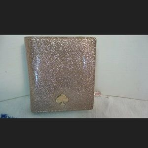 EUC KATE SPADE BURGESS GOLD SLIM WALLET ID CARDS